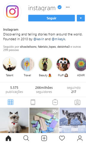 Conta verificada no Instagram